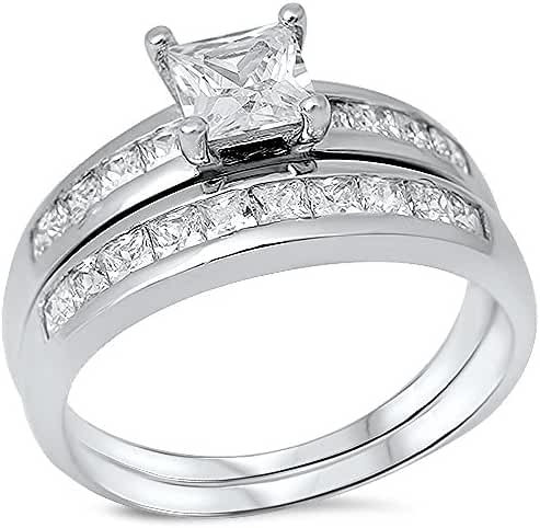 2ct Princess Cut Cubic Zirconia Channel Set .925 Sterling Silver Ring Sizes 4-10