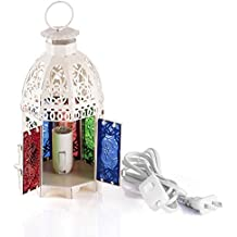 AOTOSOLO Iron Moroccan Style Matte Electric Lantern Bedside Table Lamp, Handmade Intricate Cast Cutouts Electric Square Lantern Night Lamp, with Multicolor Textured Glass