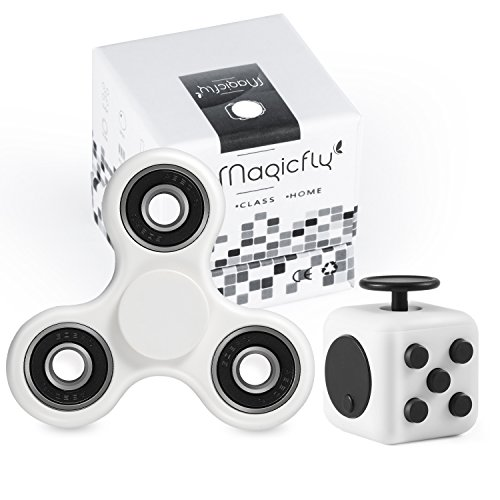 Magicfly Fidget Spinner and Fidget Cube : Stress Reducer Perfect For ADD, ADHD, Anxiety & Autism Adult Children (White)