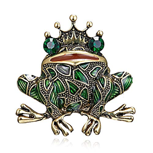 Joji Boutique Bejeweled and Enameled Antiqued Gold Frog Prince Pin