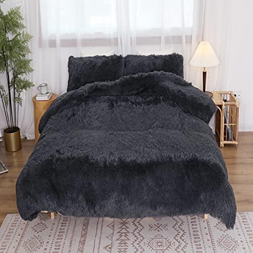 Luxury Fluffy Duvet Cover Set Queen Size, Kivik Faux Fur Shaggy Comforter Cover, Ultra Soft Plush Fuzzy Crystal Velvet Bedding Set 3 Pieces Zipper Closure (1 Duvet Cover + 2 Pillow Shams), Dark Grey