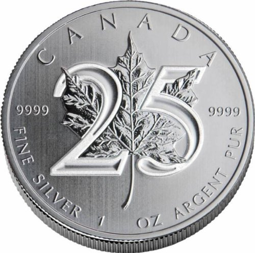 2013 CA Canadian Maple Leaf 25th Anniversary 1 Ounce Silver Dollar Uncirculated Mint