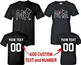 CRAZYDAISYWORLD New Mr and Mrs Pattern Customized Text Name Design Couple T Shirt Size Men L Women L