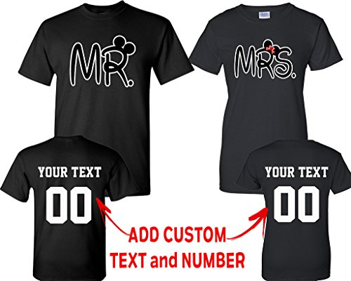 CRAZYDAISYWORLD New Mr and Mrs Pattern Customized Text Name Design Couple T Shirt Size Men L Women M by CRAZYDAISYWORLD