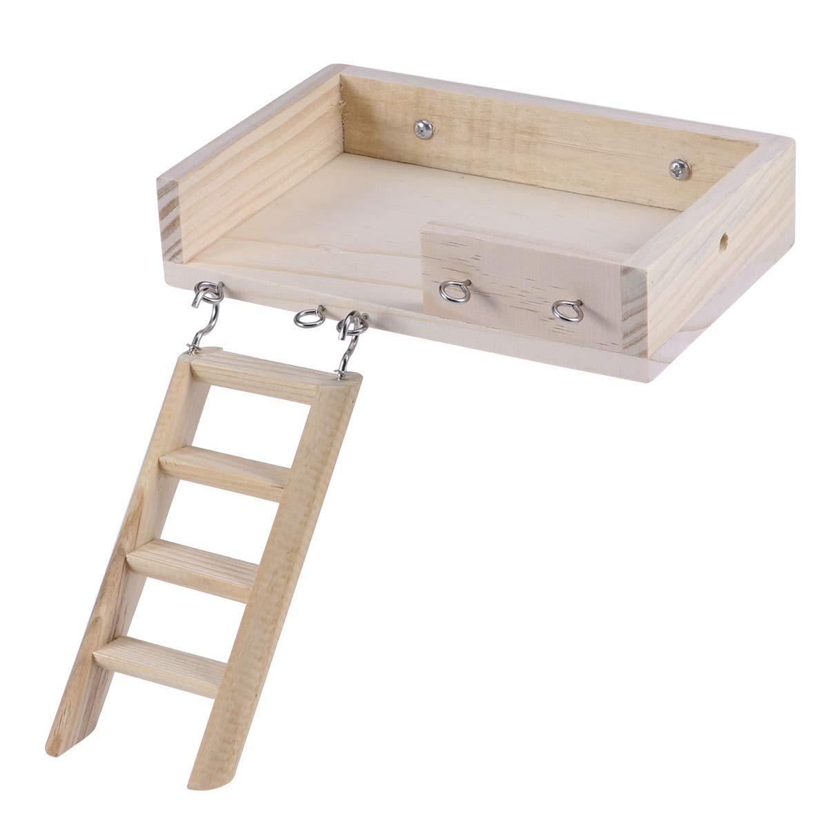 POPETPOP 2pcs Small Animal Wooden Platform Wooden Hamster Toy Crawling Ladder Set for Small pet (Ladder + Platform) by POPETPOP
