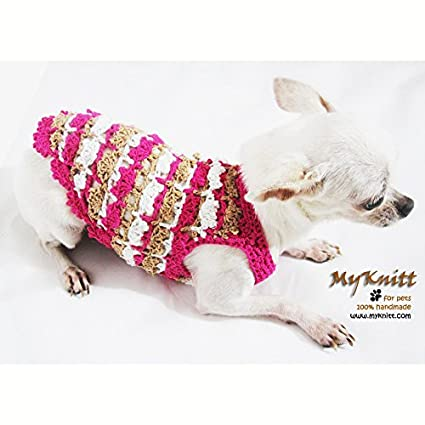 9bd38f6172d0 Cute Dog Clothes Pink Dog Clothing Pet Apparel Handmade Crochet Rustic Puppy  Sweater Chihuahua Dresses Cotton