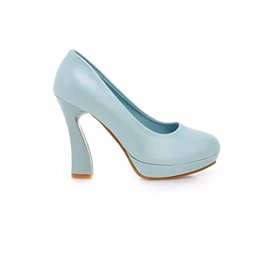 RFF-Women's Shoes Hohe Spitzen Stöckelschuhen, Pearl Stoff, Flache Wasserdichte Schreibtisch, Schuh Mädchen, Blau, 37