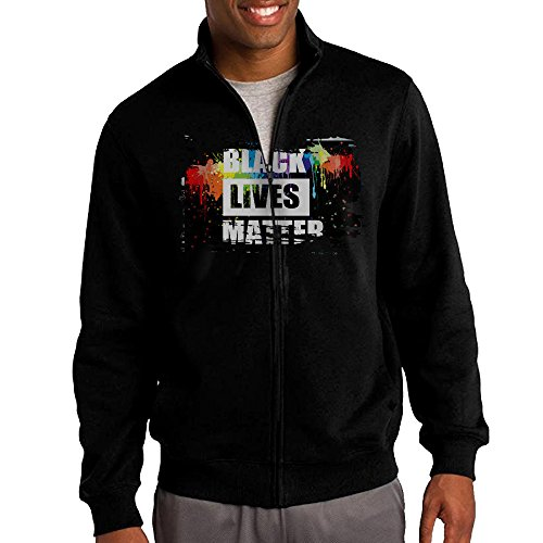 Simoon Black Lives Matter Men's Solid Stand Collar Zipper Jacket Size S ()