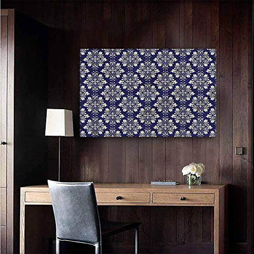 Gabriesl Waterproof Art Wall Paper Poster Royal Blue Oriental Floral Damask for Kids Rooms Boy Room Size : W36 x H24