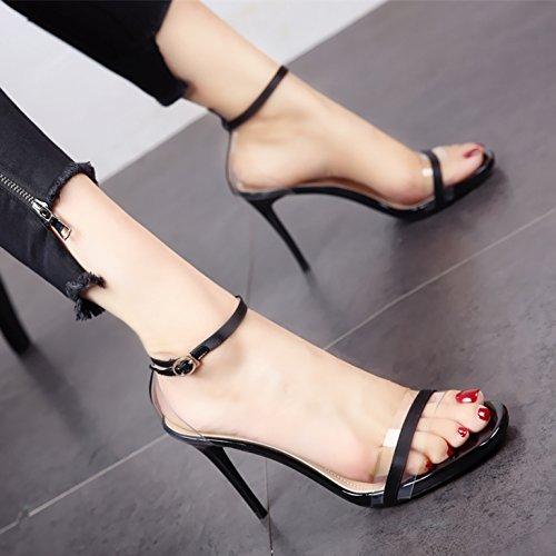 YMFIE Verano Nuevo Dedos Zona pelúcida Zapatos de tacón de Moda Elegante Sexy Lady'S Sandalias. a