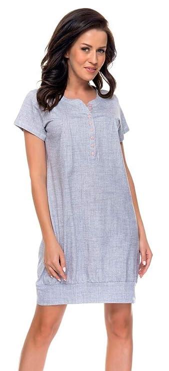 dn-nightwear Damen Umstandsnachthemd/Stillnachthemd TM.8061 aus 100% Baumwolle