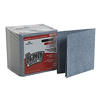 """Brawny Industrial 29223 Blue Medium Duty All Purpose Airlaid Poly Pack 1/4 Fold Wiper, 13"""" Length x 13"""" Width, (Case of 8 Poly Pkgs., 50 Wipers per Poly Pkg.)"""