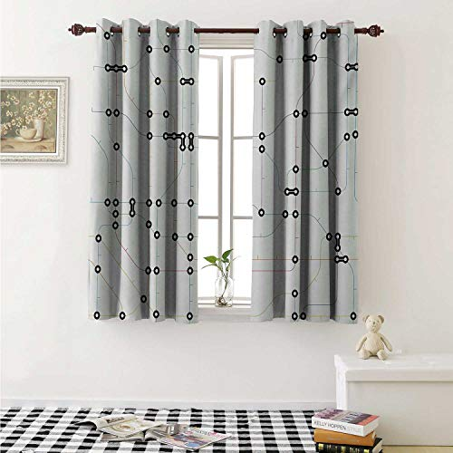 - Map Thermal Insulating Blackout Curtain Colorful Thin Lines Metro Scheme Transportation Network Diagram Outline Urban City Life Curtains Girls Room W55 x L39 Inch Multicolor