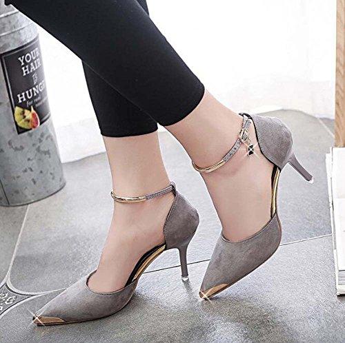 Informal Rojo la Gris de Gris Zapatos para Zapatos 35 de Boda Boda de Mujer Confort Negro de Estrecha Punta Talla 39 OPqxFPwRa
