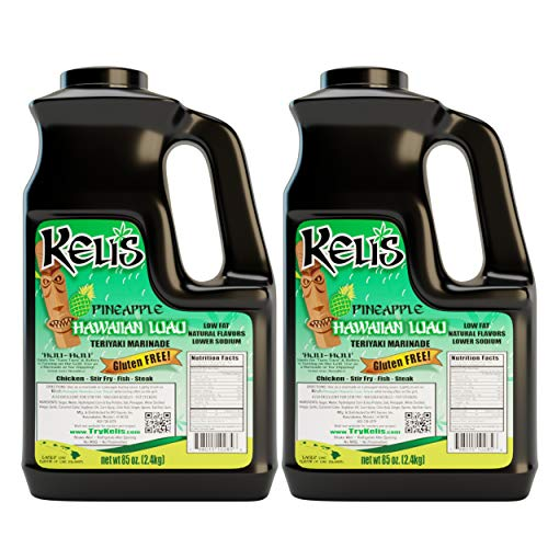 Keli's Pineapple Hawaiian Luau Teriyaki, Gourmet Pineapple Teriyaki Marinade and Huli Huli Basting Sauce. Healthy Teriyaki Sauce Low Sodium & Gluten Free - Made With Gluten Free Soy Sauce (85oz)
