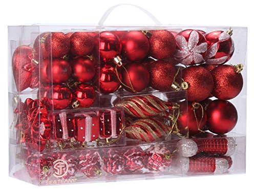 Sea Team 72-Pack Assorted Shatterproof Christmas Balls Christmas Ornaments Set Decorative Baubles Pendants with Reusable Hand-held Gift Package for Xmas Tree (Red)
