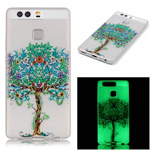 Ecoway Noctilucent Luminous Carcasa Ultra TPU Funda Case for LG K5 /Q6 / X220G , Ultra Thin Carcasa Anti Slip Soft Bumper Scratch Resistant Back Cover Crystal Clear Flexible Silicone Case Parachoques  Pasa más árboles