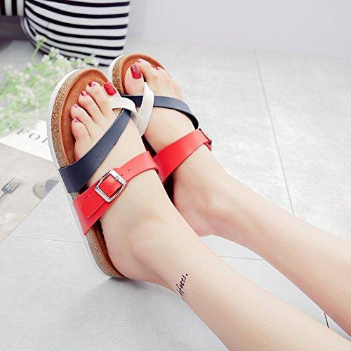 Mujer Planos Unisexo Zapatos de la playa Cómodos Sandalia Zapatos Planos sandalias del dedo del pie del clip Azul rojo