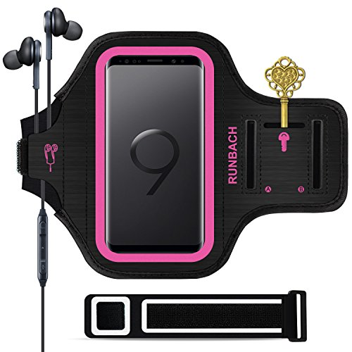 Galaxy S9 Armband,RUNBACH Sweatproof Running Exercise Gym Cellphone Sportband bag with Fingerprint Touch/Key Holder and Card Slot for Samsung Galaxy S9 (Pink)