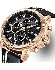LIGE Wasserdicht Sport HerrenArmbanduhr Chronographen Datum Analoger Quarz Uhren Männer Lederarmband Armbanduhren