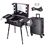 AW Rolling Makeup Case 27x18x9' with LED Light Mirror Adjustable Legs Detachable Wheel Train Studio Artist Cosmetic