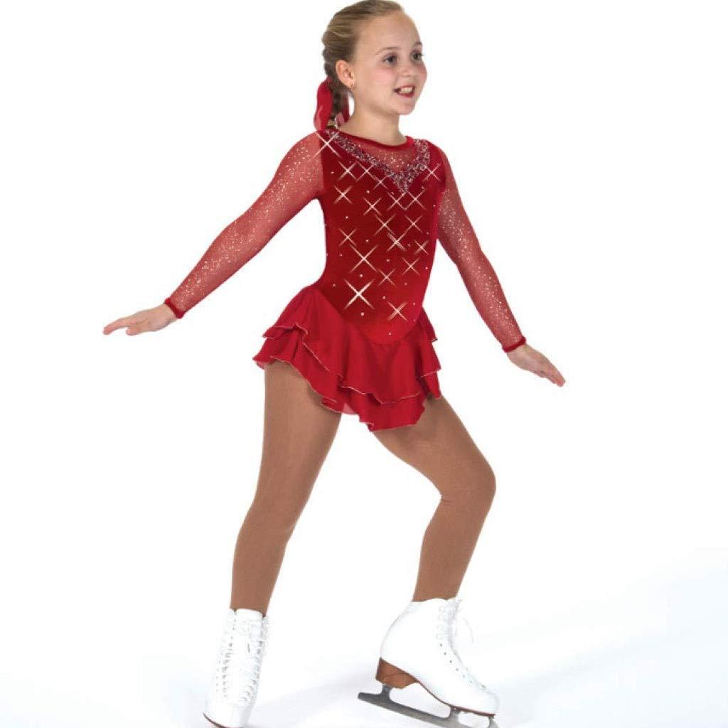 フィギュアスケートドレス、女性の女の子のブルゴーニュエラスタン高弾力性競争スケートウェア手作り宝石ラインストーンロングスリーブアイススケートを着用 レッド XL