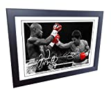 Signed 12x8 Black Boxing Floyd Mayweather vs Manny Pacquiao Autographed Photo Photograph Football Picture Frame Gift A4