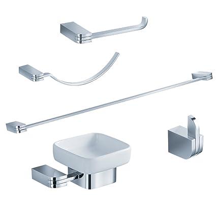 Delicieux Fresca Bath FAC1300 Solido 5 Piece Bathroom Accessory Set, Chrome