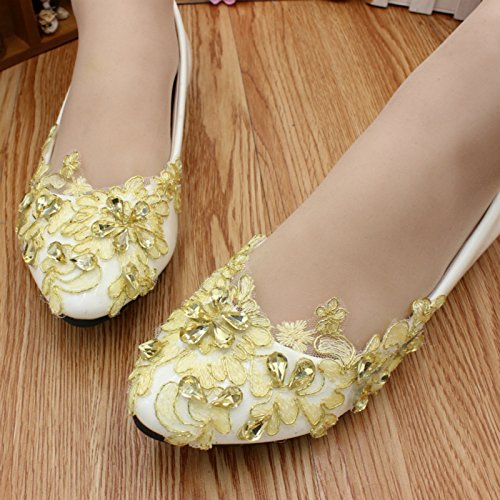 Spring Shoes Customize amp; Heel Bridesmaid Yellow Si Women's Lace 5cm Summer Handmade Banquet Bride Wedding And Rhinestones Decals Dress Party Height 4 CdIdqt
