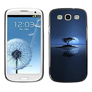 CASECO - Samsung Galaxy S3 - Lonely Moon Lake - Delgado Negro Plástico caso cubierta Shell Armor Funda Case Cover - Solitaria Moon Lake