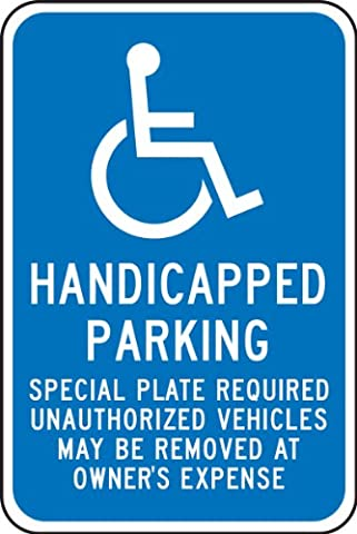 Accuform Signs FRA198RA Engineer-Grade Reflective Aluminum Handicapped Parking Sign (Massachusetts), Legend