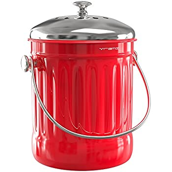 Vremi 1.2 Gallon Kitchen Compost Bin for Counter Or Under Sink, Red