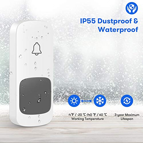 2021 Wireless Doorbell, Remote Door Bell Ringer Chimes Kit Operating Range at 1000 FT, ESMAVO Portable Doorbell with 1 Plug-in Receiver and 1 Waterproof Push Button, 58 Melodies & LED Flash