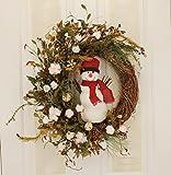 Winter Snowman Wreath Front Door Decorative Accessory Indoor Holiday Home Decor