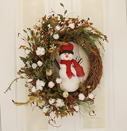 Winter Snowman Wreath Front Door Decorative Accessory Indoor Holiday Home Decor (Winter Ideas Wreaths)