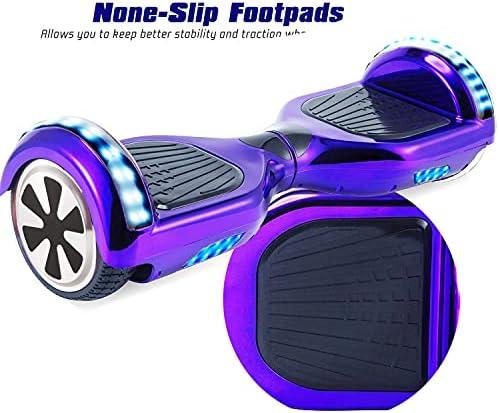 """RangerBoard Hoverboard Enfant - 6,5"""" - Bluetooth - LED Coloré - Self Balancing Board Adulte - 700W - Smart Scooter Deux Roues - Skate Électrique Cadeaux Pas Cher - Certifié CE UL2272 - Violet Chromé"""