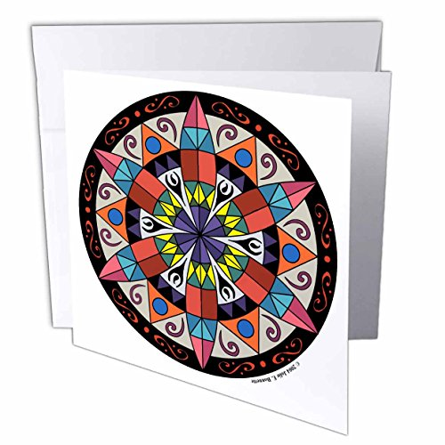3dRose Art of Jolie E Bonnette Misc Designs - Hex Sign 1 Pennsylvania Dutch Luck Protection Symbol - 6 Greeting Cards with envelopes (gc_23186_1)