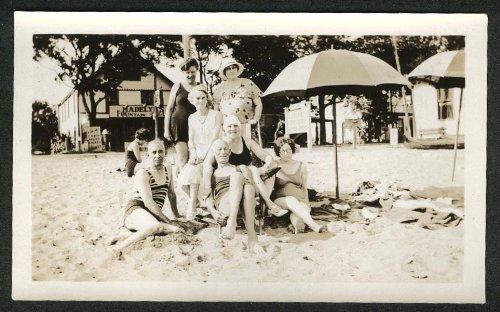 Snap Gang (Gang at Beach Madelyn's Fountain CT snapshot 1930s)