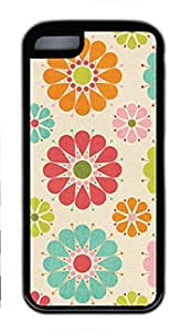 Soft Black TPU Case Cover for iPhone 5C,Colorful Flower Case for iPhone 5C