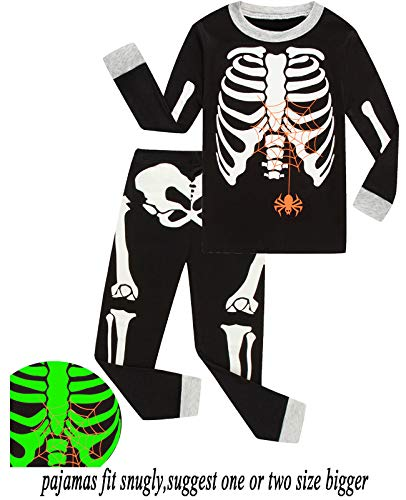 Babyroom Boys Cotton 2 Piece Halloween Skeleton Glow in thedark Costumes Toddler Pjs -