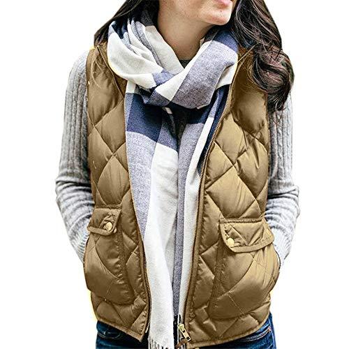 Kaki Unie Couleur Montant Col sans Manches Glissire Veste Automne DEELIN Coton Femmes Poches Veste des Hiver Gilet pnaqAvP7