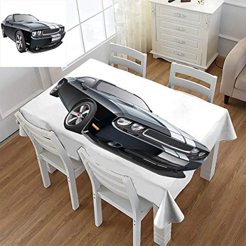 Angoueleven Cars,Rectangular Tablecloth,Black Modern Pony Car with White Racing Stripes Coupe Motorized Sport Dragster,Oblong Wrinkle Resistant Tablecloth,Black Grey White,Size:60