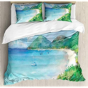 Image of Alandar Home Bedding Sets Duvet Cover 3 Pieces, Watercolor Ultra Soft Bed Quilt Set with 2 Pillowcases for Kids/Teens/Women/Men Bedroom Paradise Turquoise Sea Beach Forest Ships