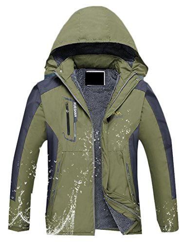 Green Men's Waterproof Insulated Jacket Rain Blackish Generic Hooded Windproof Fwq8fwd