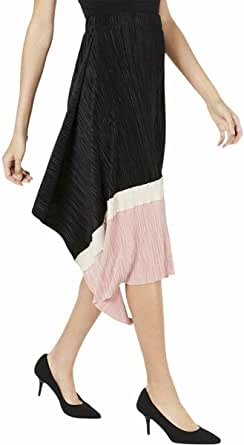 Alfani Womens Pleated Colorblock A-Line Skirt