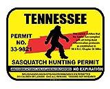 JS Artworks Tennessee Sasquatch Hunting Permit License Bigfoot Vinyl Sticker Decal