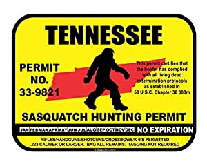 Tennessee sasquatch hunting permit license for Tennessee fishing license price