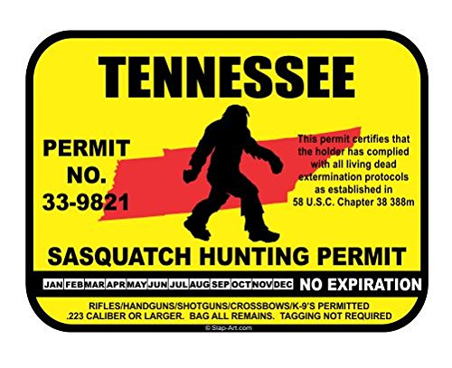 Tennessee Sasquatch Hunting Permit License Bigfoot Vinyl Sticker Decal