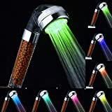 LED Shower Head, InGoo 7 Colors Changing Light Handheld High Pressure Spa Shower Head Negative Ion Sprinkler and Chlorine Double Filter Saving Water Showerhead (7 Colors)