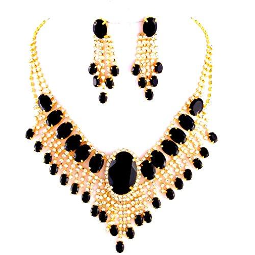 Abordable Mariage Bijoux Onyx Noir clair Strass Cascade Boucles d'oreilles Doré Ensemble collier